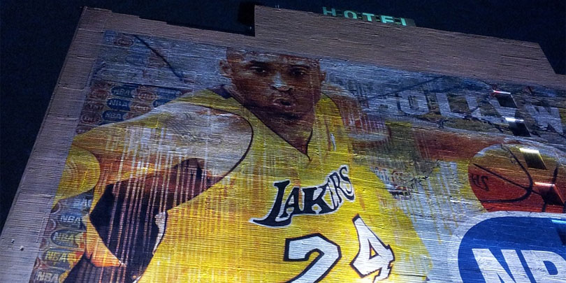 Kobe Bryant mural on the wall of a hotel