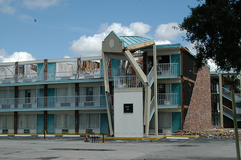 Hurricane-damaged hotel