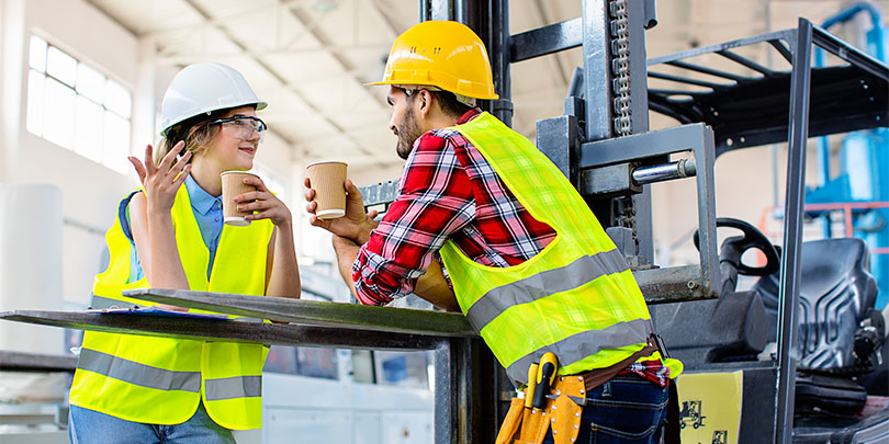 Construction Workers Drinking Tea