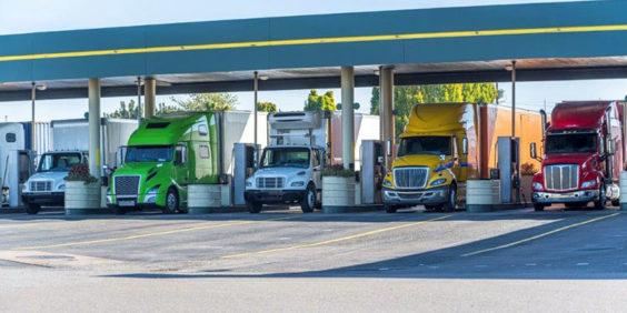 Semi-trucks at fueling station